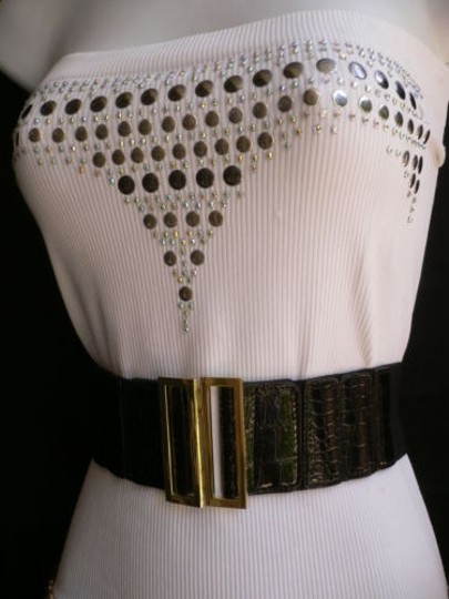 Other Women Belt Wide Black Faux Leather Crocodile Stamp Gold Buckle