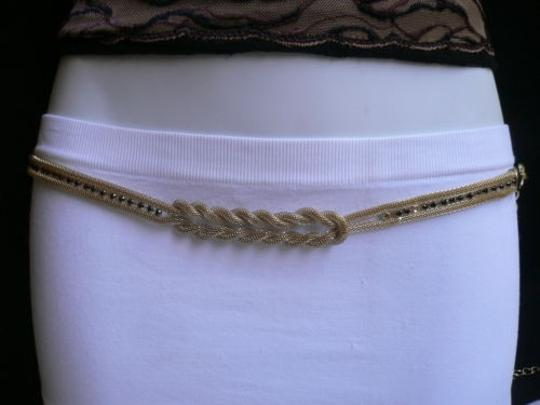 Other Women Hip Waist Gold Metal Chains Fashion Belt Black Rhinestone