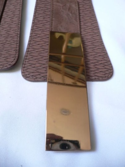Other Women Belt Fashionelastic Brown Western Gold Metal Plate Buckle 26-33