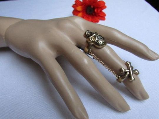 Other Women Double Ring Chain Fashion Two Gold Metal Elastic Skull Bones Skeleton
