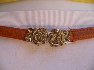 Other Women Belt High Waist Wide Hip Orange Thin Gold Rose Buckle Casual