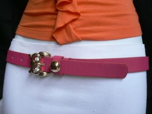 Other Women Belt Fashion Faux Leather Thin Pink Gold Metal Owl Buckle 31-38