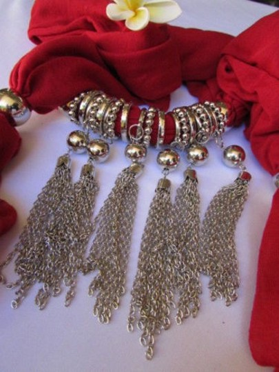 Other Women Necklace Scarf Fashion Red Fabric Silver Metal Chain Tassel Pendant