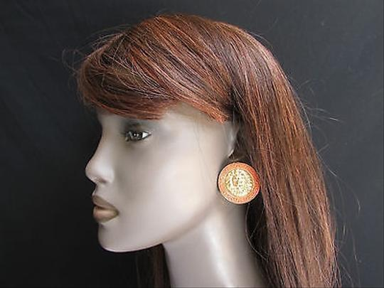 Other Women Fashion Gold Coral Metal Earrings Big Lion Head One Circle 1.2