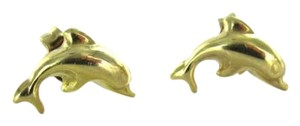 Other 18KT YELLOW GOLD EARRINGS DOLPHINS STUD 0.8DWT SMALL DOLPHIN SOLID 18K JEWELRY