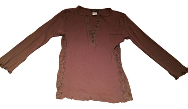 BCBGMAXAZRIA Bcbg Lace Long Sleeve 3/4 Shirt Blouse Button Button Down Shirt Brown