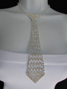 Women Necklace Fashiontrendy Silver Rhinestones Metal Long Tie Hot Jewelry
