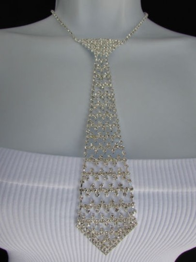 Other Women Necklace Fashiontrendy Silver Rhinestones Metal Long Tie Hot Jewelry