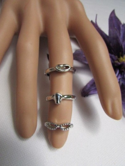 Other Women Rings Fashion Silver Metal Three In One Trendy One Finger One