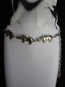 Women Belt Fashion Waist Hip Silver Chains Metal Rhino 25-37