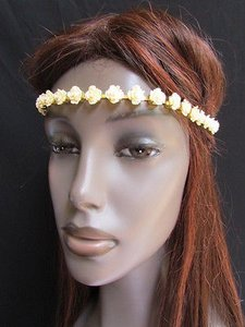 Other Women Head Chain Fashion Cream Hair Gold Metal Jewelry Multi Flower Headband