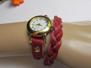Women Bracelet Fashion Wrist Watch Rusty Gold Red Faux Leather Wrap Around