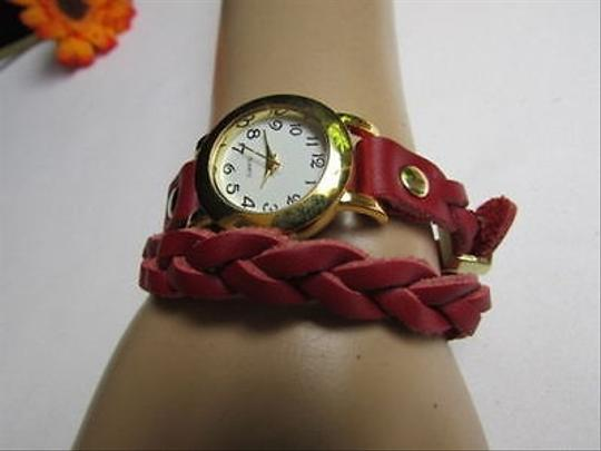 Other Women Bracelet Fashion Wrist Watch Rusty Gold Red Faux Leather Wrap Around
