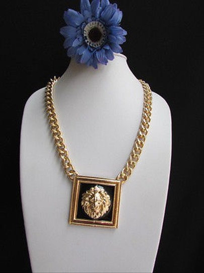 Other Women Necklace Gold Chunky Big Tiger Black Portrait African Lions Face