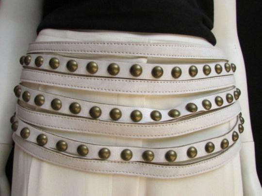 Other Women Belt Hip Wide White Western Faux Leather Gold Studs 34-38