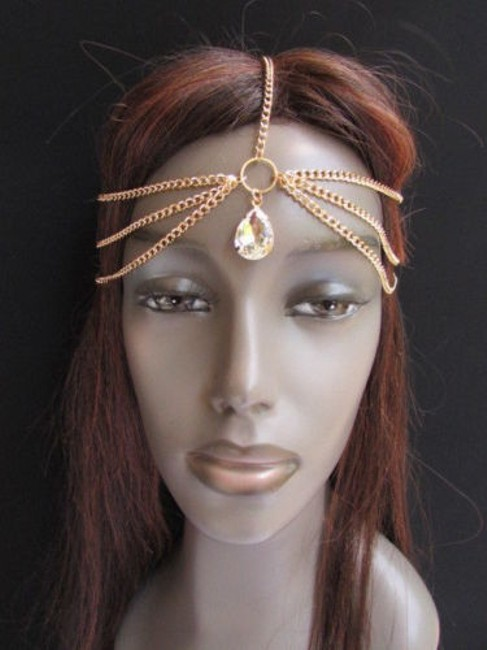 Item - Gold Women Metal Head Chain Fashion Jewelry Big Silver Bead Front Hair Accessory