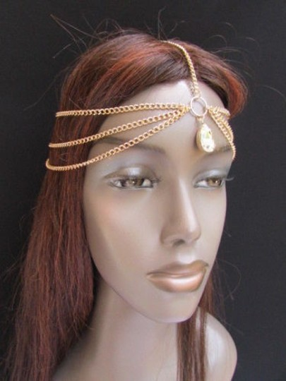 Other Women Gold Metal Head Chain Fashion Jewelry Big Silver Bead Front Forehead Drop