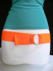 Other Women Belt Fashion Waist Hip Stretch Neon Orange Casual Xs-s-m-l-xl