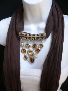 Preload https://item5.tradesy.com/images/women-scarf-necklace-brown-soft-fabric-silver-triangle-pendant-big-beads-3594019-0-0.jpg?width=440&height=440