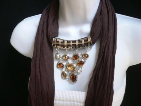 Other Women Scarf Necklace Brown Soft Fabric Silver Triangle Pendant Big Beads