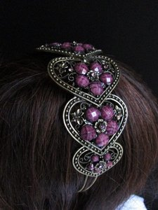 Other Women Headband Hair Fashion Purple Stone Beads Rhinestone Five Hears Accessories