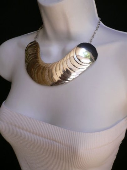 Other Women Necklace Chains Wide Big Metal Coins Strand Silver Links 7 Drop