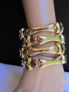 Other Women Bracelet Fashion Gold Skeleton Bones Wide Cuff Skulls Halloween
