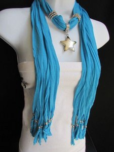 Other Women Scarf Necklace Fashion Blue Soft Big Silver Big Texas Star Pendant