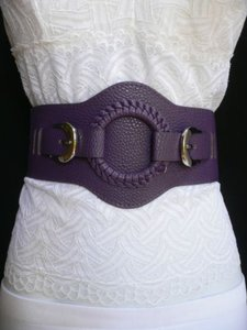 Women Belt Fashion Elastic Hip Waist Purple Western Silver Buckles
