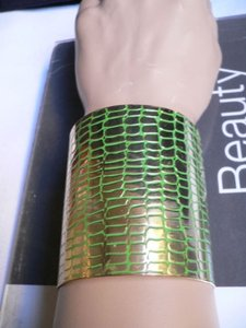Other Dressy Cuff Unique Fashion Chic Women Gold Metal Wide Green Flexible