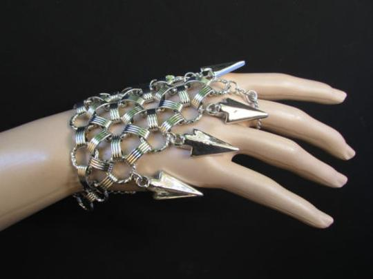 Other Women Bracelet Fashion Silver Chains Big Spikes Metal Hand Slave Connected