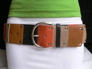 Other Women Belt Elastic Orange Brown Gray Caribbean Tropical Silver Buckle Xs-xl