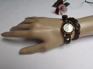 Other Women Watch Rusty Gold Dark Brown Faux Leather Wrap Around Fashion Bracelet