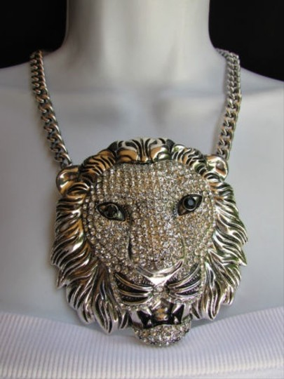 Other Women Necklace Earring Set Long Silver Round Big Lion Head Chains Pendant