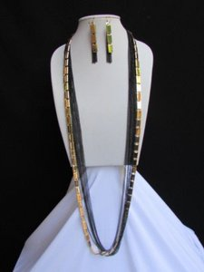 Women Necklace Earring Gold Black Fashion Long Black Multi Strands Chains