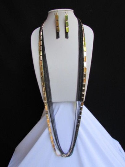 Preload https://item2.tradesy.com/images/women-necklace-earring-gold-black-fashion-long-black-multi-strands-chains-3594106-0-0.jpg?width=440&height=440