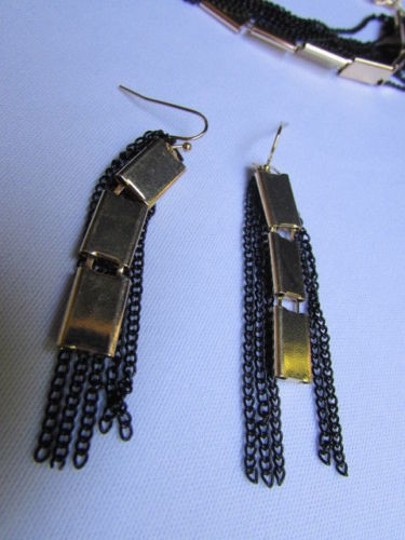Other Women Necklace Earring Gold Black Fashion Long Black Multi Strands Chains