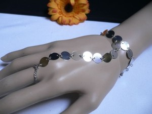 Women Bracelet Fashion Silver Circles Hand Links Chain Slave Wrist To Ring