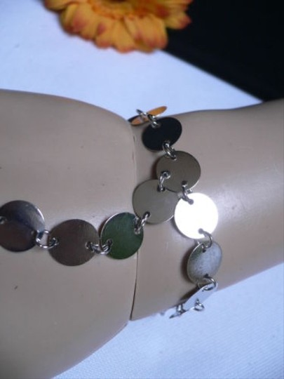Other Women Bracelet Fashion Silver Circles Hand Links Chain Slave Wrist To Ring