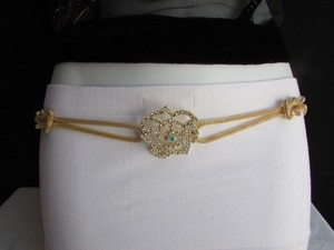 Women Belt Hip Waist Gold Metal Big Flower Rhinestone Chains Loop 26-46 Xs-xxl
