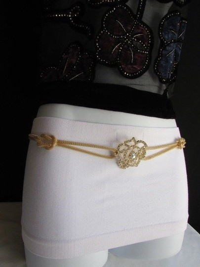 Other Women Belt Hip Waist Gold Metal Big Flower Rhinestone Chains Loop 26-46 Xs-xxl
