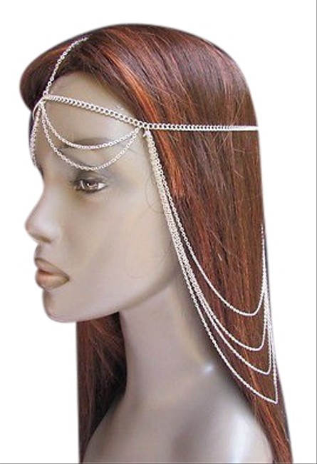 Item - Women Head Chain Casual Fashion Silver Metal Long Jewelry Front Back Waves Drape