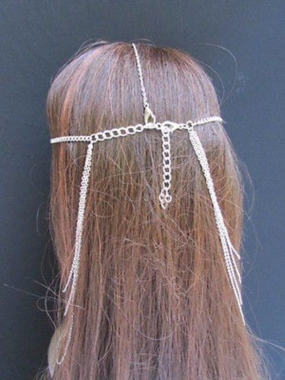 Other Women Head Chain Casual Fashion Silver Metal Long Jewelry Front Back Waves Drape
