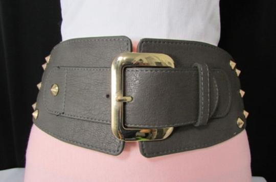 Other Women Belt Buckle Hip Western High Waist Gray Wide Gold Metals 27-37