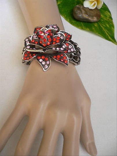 Other Women Bracelet Fashion Antique Silver Metal Big Flower Red Pink Rhinestones