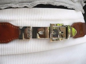 Other Women Belt Thin Fashion Hip High Waist Elastic Brown Silver Long Buckle
