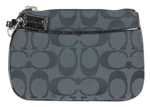Coach Signature Canvas Leather Wristlet in Black