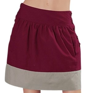 Tulle Color-blocking High Waist Vintage Inspired Mini Skirt burgundy gray