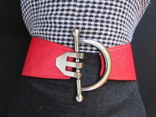 Other Women Belt Buckle Metal Western Wide Dark Red Faux Leather Hook 30-40