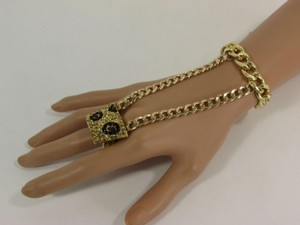Other Women Bracelet Fashion Gold Metal Links Leopard Rhinestone Slave Ring Hand Chain
